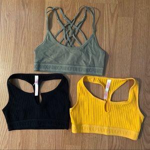 Three PINK Victoria's Secret lounge sports bras